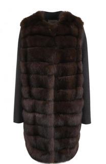 Пальто из смеси шерсти и кашемира с отделкой из меха соболя Yves Salomon