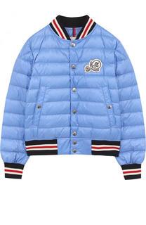 Пуховая куртка-бомбер на кнопках с контрастной отделкой Moncler Enfant