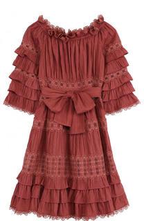 Приталенное хлопковое мини-платье с открытыми плечами Zimmermann