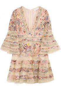 Приталенное кружевное мини-платье Zimmermann