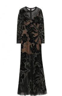 Приталенное платье-макси с длинным рукавом Elie Saab