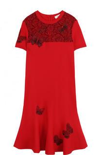 Мини-платье с коротким рукавом и кружевной вставкой Valentino