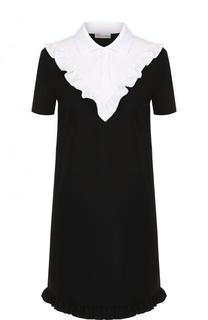 Мини-платье с контрактной отделкой и оборками REDVALENTINO