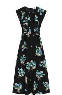 Приталенное шелковое платье-миди с принтом REDVALENTINO