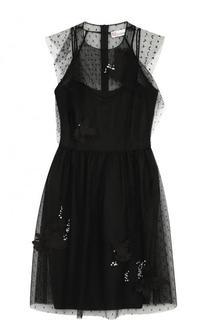 Приталенное мини-платье без рукавов REDVALENTINO