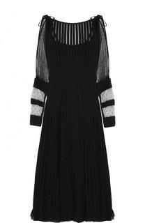 Приталенное платье-миди с длинным рукавом REDVALENTINO
