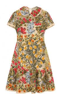 Приталенное мини-платье с контрастной вышивкой REDVALENTINO