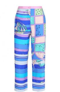 Укороченные шелковые брюки с принтом Emilio Pucci