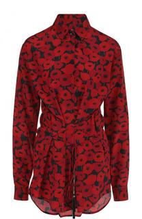 Приталенная шелковая блуза с принтом Saint Laurent