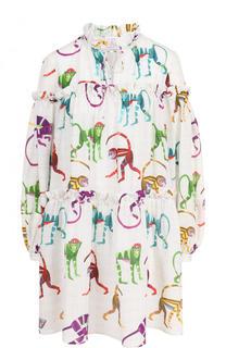 Шелковое мини-платье свободного кроя с принтом Stella Jean