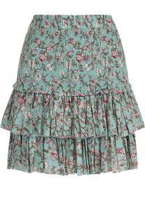 Хлопковая мини-юбка с принтом и оборками Isabel Marant Etoile