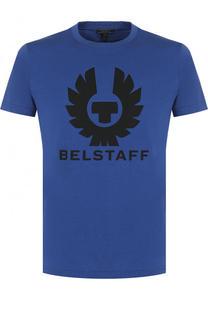 Хлопковая футболка с логотипом бренда Belstaff