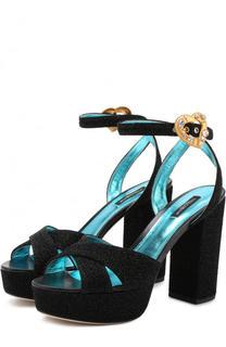 Текстильные босоножки Keira на устойчивом каблуке и платформе Dolce & Gabbana