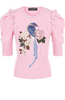 Кашемировый пуловер с рукавом-фонарик и вышивкой Dolce & Gabbana