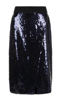 Юбка-миди с контрастным поясом и пайетками Victoria by Victoria Beckham