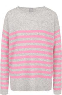 Кашемировый пуловер в полоску с круглым вырезом FTC