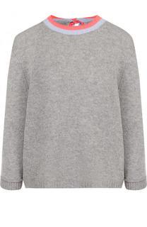 Кашемировый пуловер с укороченным рукавом и круглым вырезом FTC