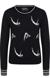 Шерстяной пуловер с круглым вырезом Markus Lupfer