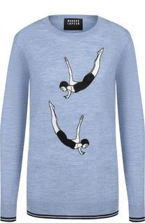 Шерстяной пуловер с круглым вырезом и принтом Markus Lupfer