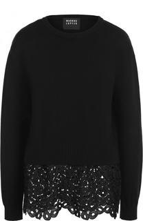 Хлопковый пуловер фактурной вязки с кружевной отделкой Markus Lupfer