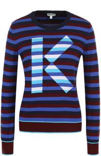 Хлопковый вязаный пуловер в полоску Kenzo
