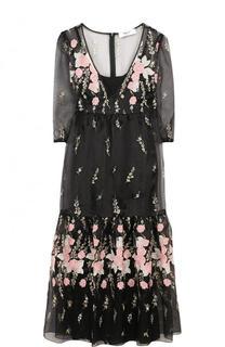 Приталенное платье-миди с контрастной вышивкой Blugirl