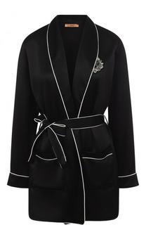 Шелковая блуза с контрастной отделкой Ermanno Scervino