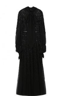 Приталенное платье-макси с воротником аскот и фактурной вышивкой Elie Saab