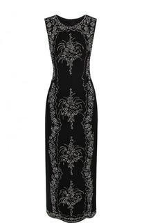 Приталенное платье-миди с контрастной отделкой Oscar de la Renta