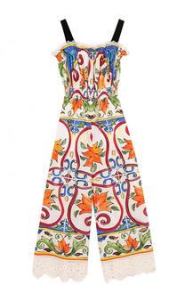 Приталенный хлопковый комбинезон с принтом Dolce & Gabbana
