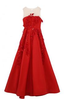 Приталенное платье-макси с прозрачной вставкой Oscar de la Renta
