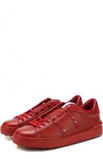 Кожаные кеды Rockstud Untitled на шнуровке Valentino