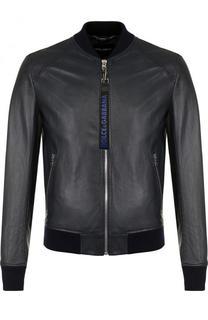 Кожаный бомбер на молнии с карманами Dolce & Gabbana