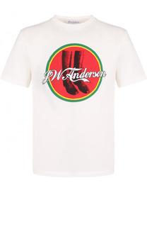 Хлопковая футболка с принтом J.W. Anderson