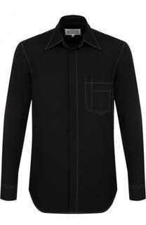 Хлопковая рубашка с контрастной прострочкой Maison Margiela