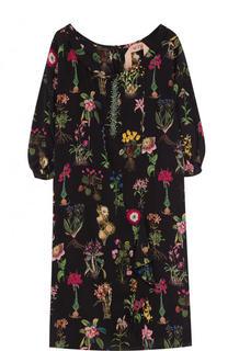 Шелковое платье-миди свободного кроя с принтом No. 21