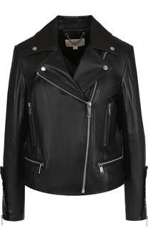Однотонная кожаная куртка с косой молнией MICHAEL Michael Kors