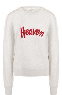 Шерстяной пуловер с круглым вырезом и вышивкой Saint Laurent
