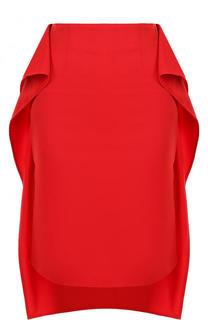 Однотонная юбка асимметричного кроя с оборками Mm6