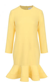 Однотонное мини-платье с оборкой и длинным рукавом Victoria by Victoria Beckham