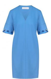 Однотонное мини-платье с V-образным вырезом Victoria by Victoria Beckham
