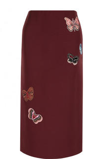 Юбка-карандаш из смеси шерсти и шелка с отделкой в виде бабочек Valentino