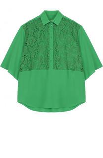 Шелковая блуза свободного кроя с кружевной вставкой Valentino