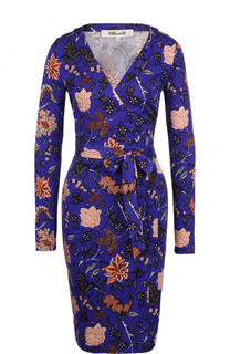 Шелковое платье-миди с принтом и запахом Diane Von Furstenberg