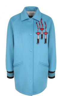 Пальто из смеси шерсти и кашемира с контрастной отделкой Valentino