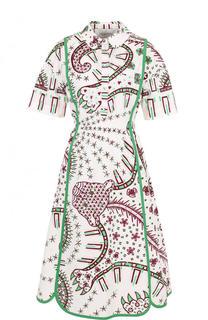 Приталенное хлопковое платье-миди с принтом Valentino