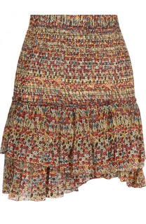 Шелковая мини-юбка с оборками и принтом Isabel Marant Etoile