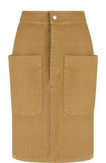 Однотонная хлопковая юбка с накладными карманами Isabel Marant Etoile