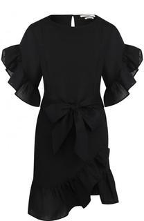 Однотонное льняное мини-платье с поясом Isabel Marant Etoile