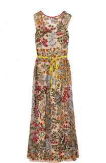 Приталенное платье-макси с поясом и контрастной вышивкой REDVALENTINO